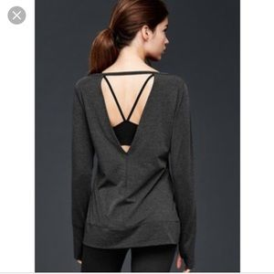 Gap Fit Breathe Ballet L/S Open Back Tops, 2 in XS